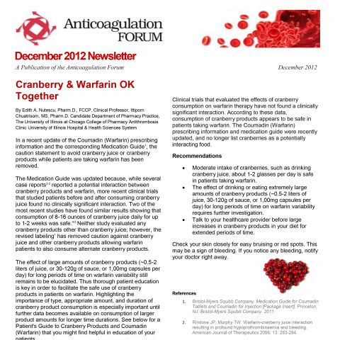 Anticoagulation Forum Newsletter: Cranberry & Warfarin Ok Together!