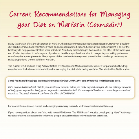 Current Recommendations for Managing your Diet While on Warfarin