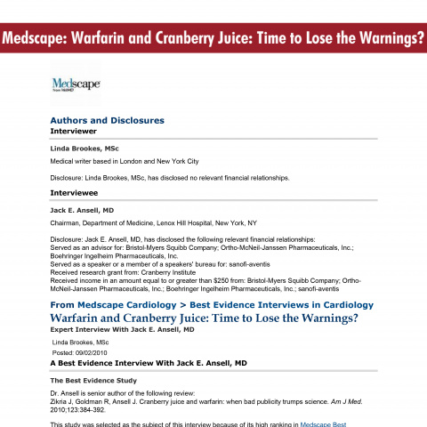Medscape: Warfarin and Cranberry Juice: Time to Lose the Warnings?